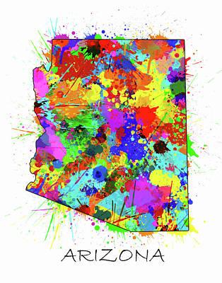 Arizona Map Color Splatter Poster