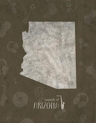 Arizona Map Music Notes 3 Poster