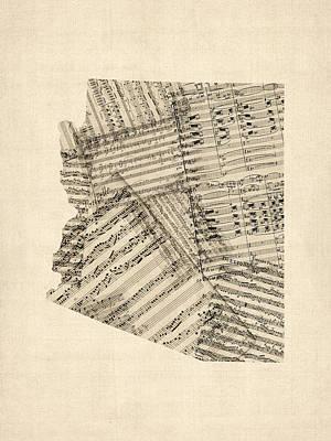 Arizona Map, Old Sheet Music Map Poster