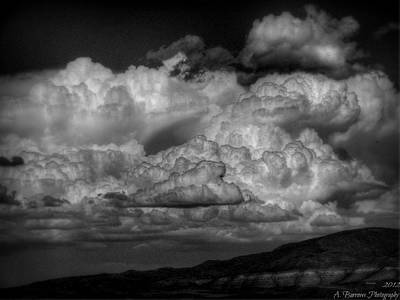 Arizona Monsoon Black And White Poster