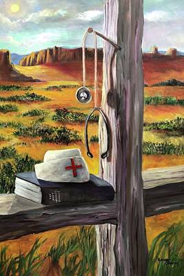Poster featuring the painting Arizona The Nurse And Hope by Randol Burns