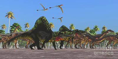 Arizonasaurus And Plateosaurus Dinosaurs Poster