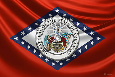 Arkansas Great Seal Over State Flag Poster by Serge Averbukh