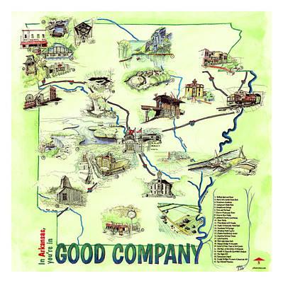 Arkansas Landmark Map Poster by Yang Luo-Branch