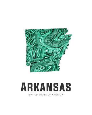 Arkansas Map Art Abstract In Green Poster