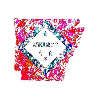 Arkansas Paint Splatter Poster by Brian Reaves