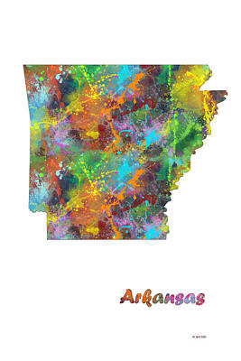 Arkansas State Map Poster by Marlene Watson