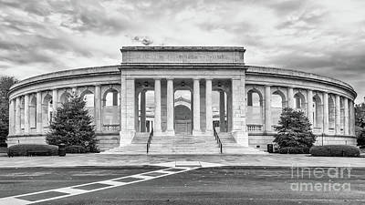 Arlington Memorial Amphitheater Bw Poster by Jerry Fornarotto
