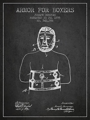 Armor For Boxers Patent From 1895 - Charcoal Poster by Aged Pixel