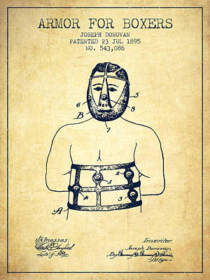 Armor For Boxers Patent From 1895 - Vintage Poster by Aged Pixel