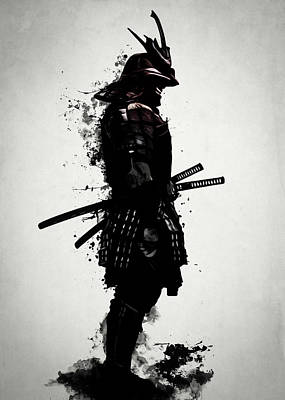 Poster featuring the mixed media Armored Samurai by Nicklas Gustafsson