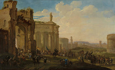 Army Advancing Among Roman Ruins Poster