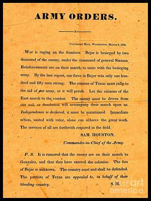 Texian Army Orders Call To Arms Broadside From Sam Houston 1836 Texas Revolution Poster