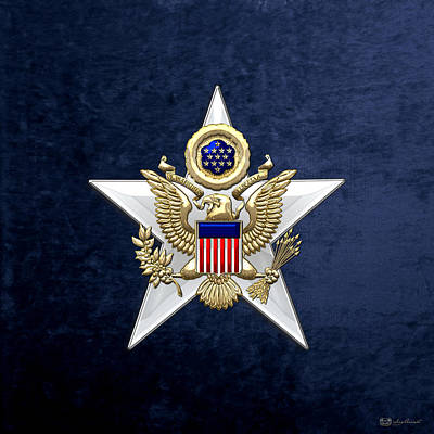 Army Staff Branch Insignia On Blue Velvet Poster by Serge Averbukh