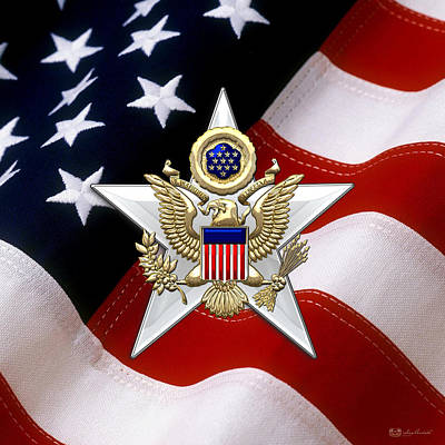 Army Staff Branch Insignia Over U. S. Flag Poster by Serge Averbukh