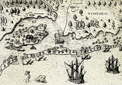 Arrival Of English In Virginia Poster by Theodor de Bry