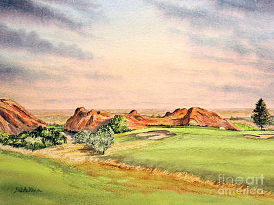 Poster featuring the painting Arrowhead Golf Course Colorado Hole 3 by Bill Holkham