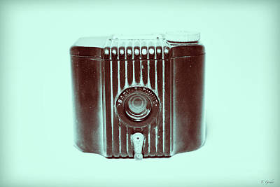 Art Deco Baby Brownie Blue Camera Poster