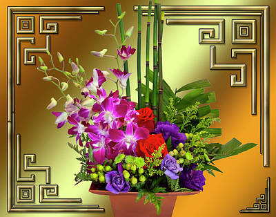 Poster featuring the digital art Art Deco Floral Arrangement by Chuck Staley