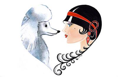 Art Deco Lady - Les Amis Poster by Di Kaye
