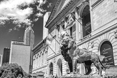 Art Institute In Chicago Black And White Poster