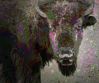 Poster featuring the mixed media Art Neuvo Bison by Irma BACKELANT GALLERIES