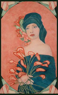 Art Nouveau Cala Lilies Poster