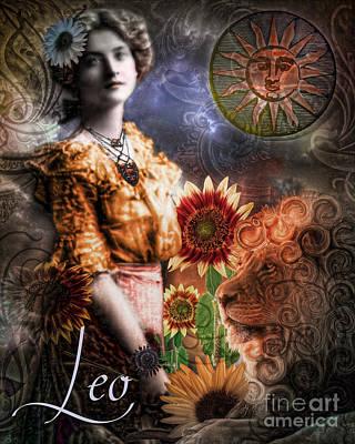 Art Nouveau Zodiac Leo Poster by Mindy Sommers