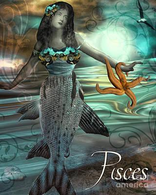 Art Nouveau Zodiac Pisces Poster by Mindy Sommers