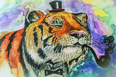 Art Painting Tiger With A Smoking Pipe Poster by Anna Matveeva