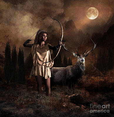 Poster featuring the digital art Artemis Goddess Of The Hunt by Shanina Conway