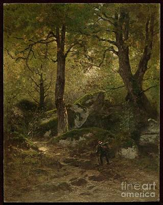 Artist In The Gorge Aux Loups Poster