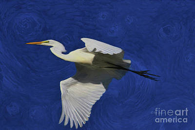 Poster featuring the painting Artistic Egret by Deborah Benoit