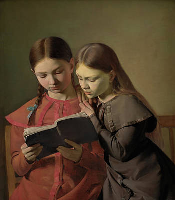 Artists' Sisters Signe And Henriette Reading A Book Poster by Constantin Hansen