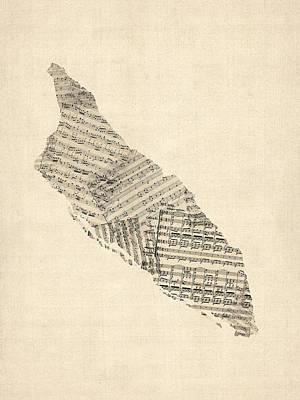 Aruba Old Sheet Music Map Poster