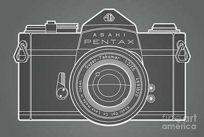 Asahi Pentax 35mm Analog Slr Camera Line Art Graphic White Outline Poster by Monkey Crisis On Mars