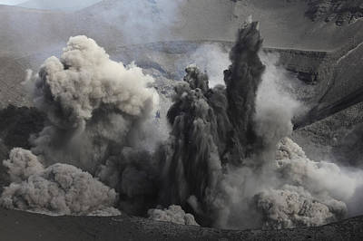 Ash Cloud Eruption On Yasur Volcano Poster by Richard Roscoe