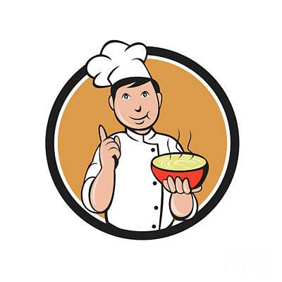 Asian Chef Noodle Bowl Circle Cartoon Poster