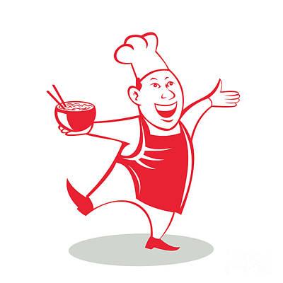 Asian Chef Serving Noodle Bowl Dancing Cartoon Poster