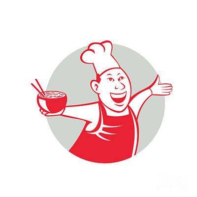 Asian Chef Serving Noodle Bowl Dancing Circle Cartoon Poster