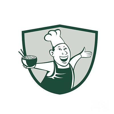 Asian Chef Serving Noodle Bowl Dancing Crest Cartoon Poster