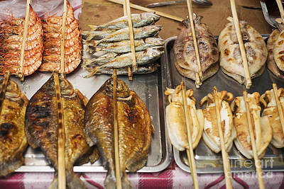 Asian Grilled Barbecued Seafood In Kep Market Cambodia Poster