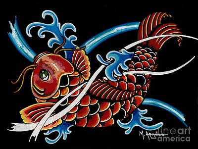 Asian Koi Poster by Maria Arango