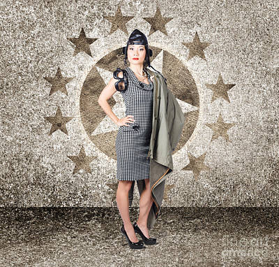 Asian Military Pinup Girl In Retro Air Force Style Poster by Jorgo Photography - Wall Art Gallery