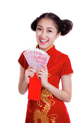 Asian Woman With Red Pocket For Chinese New Year Poster by Anek Suwannaphoom