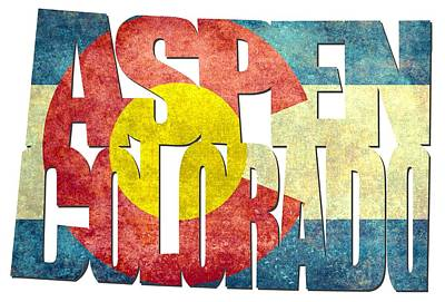 Aspen Colorado Typography - State Flag Poster by Gregory Ballos