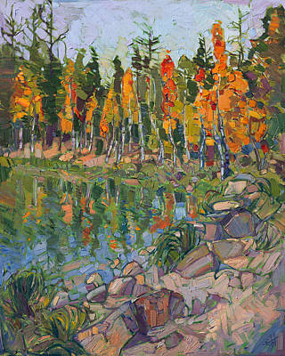 Poster featuring the painting Aspen Row by Erin Hanson