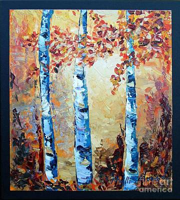 Poster featuring the painting Aspens In Glow by Phyllis Howard