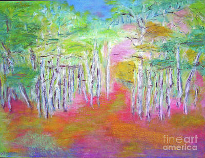 Poster featuring the mixed media Aspens In Spring by Barbara Anna Knauf