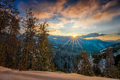Aspens Sunset After Snowfall Poster
